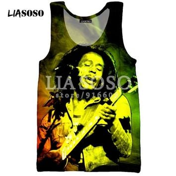 LIASOSO T Shirt Men's Women Vest 3D Tank Sleeveless print Bob Marley slim fit  Hip Hop Men/boy Fashion tees tops tshirt D538