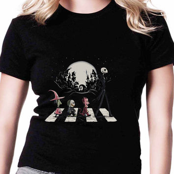 Lock Shock And Barrel Nightmare Before Christmas Halloween Road TV Womens T Shirts Black And White