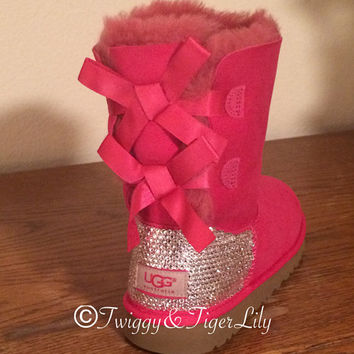 27992999644 UGG Bailey Bow Hot Pink Ugg Boots with Swarovski Crystal Embellishment -  Bling Uggs with Bows and Crystals in Cerise Pink