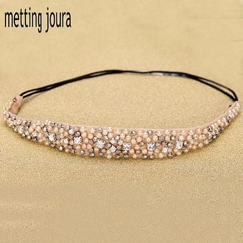 Metting Joura Women Girls Bohemian Vintage Cubic Beads Crystal Rhinestone Headband Hair Accessories