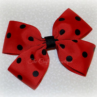 Red & Black Polkadot Bow ~ Red Boutique Bow ~ Minnie Mouse Bow ~ Ladybug Hair Bow ~ Big Girls Bow ~ Baby Toddler Bow ~ 4 inch Hair Bow