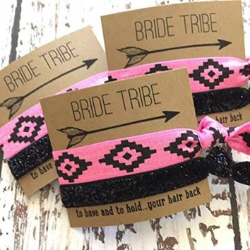 Bachelorette Hair Tie Party Favors // Set of 5 // Bride Tribe Pink Aztec/Black Glitter - To Have and To Hold Your Hair Back