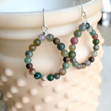 Rainbow Hoop Earrings - Colorful Beaded Hoop Earrings - Rainbow Earrings - Genuine Jasper Hoops - Boho Earrings