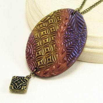 Pendant Necklace, Polymer Clay Jewelry, Wearable Art