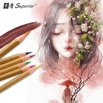 Superior Watercolor Pens Mechanical Pencils for School Pen for Drawing School-supplies Professional Art Painting Pencil Lovely