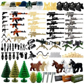 WW2 Military Weapon Pack  MOC Army Accessory Building Blocks Soldier Figure Gun City Police SWAT Team Toys Compatible LegoINGlys