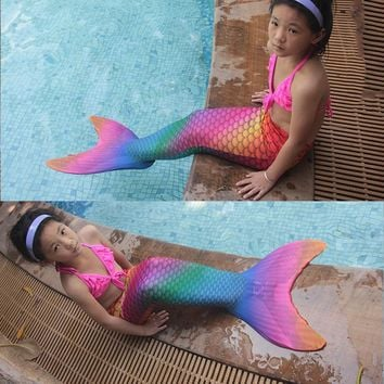 2017 Fairy baby girl kids Mermaid Tail Funny with Monofin Cosplay Costumes Netherlands Party Dress