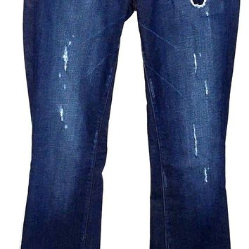 BKE Boutique Bootcut Jeans Dark Wash Distressed Stretch Womens 25 Actual 28 x 35 - Preowned