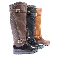 Women's Quilted Double-Buckle Weatherproof Boots - Assorted Colors