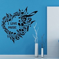 Wall Decor Vinyl Decal Sticker Words I Love Music Heart Kg546