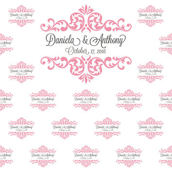 C062 Custom Wedding Step And Repeat Backdrop (Multiple Sizes And Colors Available)