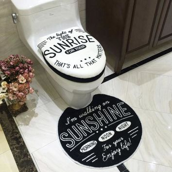 Fashion Bathroom Set Toilet Set Cover U Bath-Mat 3pcs Set Toilet Seat Cushion