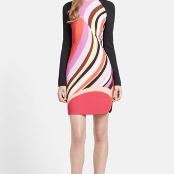 Women's Emilio Pucci Onyx Print Long Sleeve Cady Dress,