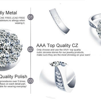 925 Sterling Silver Plated Engagement Rings,Wedding Jewelry,Cubic Zirconia Diamond Ring
