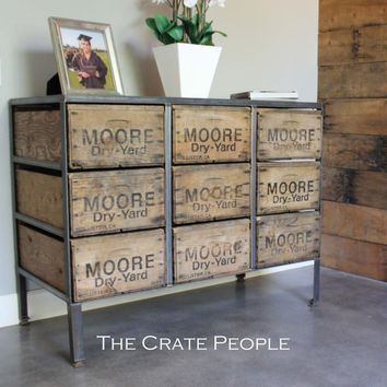 9 Drawer Dresser | Vintage Wood Crates & Reclaimed Barn Wood | Custom Furniture