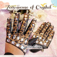 WINTER  Leopard Print Real Leather GLOVES with Elegant Rhinestones