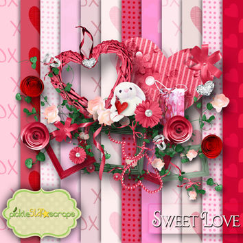Sweet Love - Digital Scrapbook Kit and  FREE QuickPage
