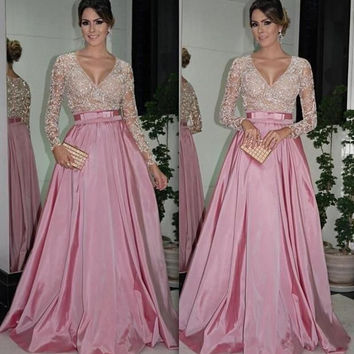 Long Sleeve Pink V-Neck Prom Dresses