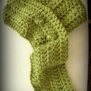 Chunky crochet green long scarf neckwarmer cowl with handmade buttons, yarn and buttons made in USA,peridot green,adults & teens scarf cowl.