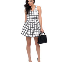 Ivory & Black Plaid Belted Fit & Flare Dress