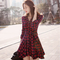2016 Red Slim Long Long Sleeve Plaid Casual Party Playsuit Clubwear Bodycon Boho Dress _ 8891