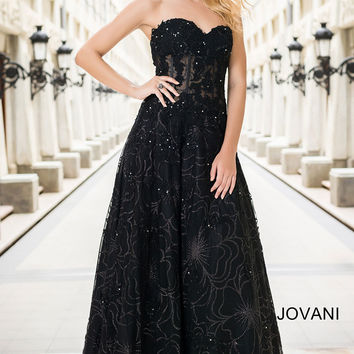 Black Strapless A-Line Prom Dress 14913
