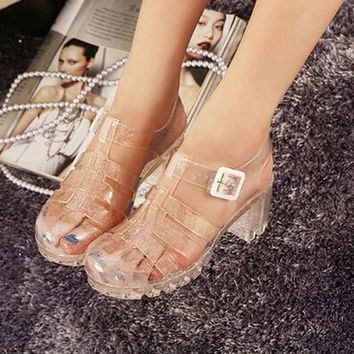 2016 summer new fashion retro crystal thick with transparent plastic Women sandals T-Roman sandals jelly Women shoes sandals