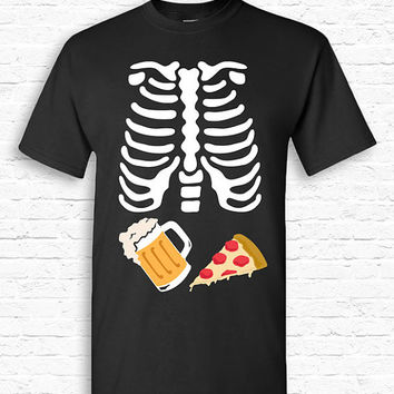 BEER and PIZZA Skeleton Ribcage Xray Halloween T-shirt Tshirt Tee Shirt Pregnant Pregnancy Funny Junk Food Dad Father Couples Costume TF-167