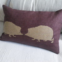 handprinted mulberry hedgehog pair cushion