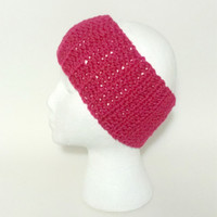 Fuchsia Ear Warmer , Crochet Headband , Womens Headband , Crochet Ear Warmer , Teen Headband , Gifts under 20 , Winter Accessory