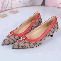GUCCI Women Fashion Pointed Toe Low Heeled Shoes