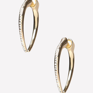 bebe Womens Front To Back Horn Earrings Crystal In Gold