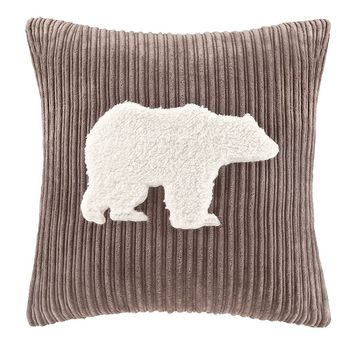 Woolrich Big Sky Berber Bear Decorative Pillow (Brown)