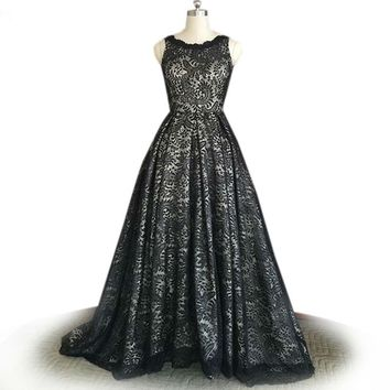 Evening Dresses Elegant long Evening Dresses Black Lace Prom Party Gowns black prom dress ball gown