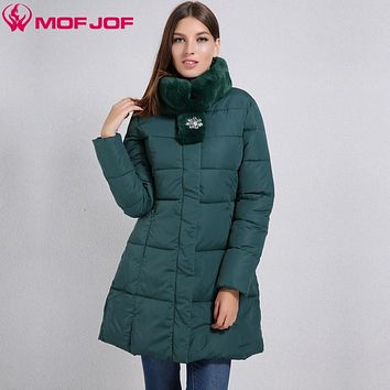 Winter Women jacket with flared Side pockets with a zipper Artificial rabbit Fur Stand Collar elegant Slim waist coat for women