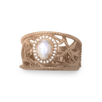 14 Karat Rose Gold Plated Rainbow Moonstone Ring
