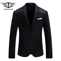 Blazer Men Famous Blazers For Men Slim Fit Black Prom Blazers Fashion Printed Wedding Dress