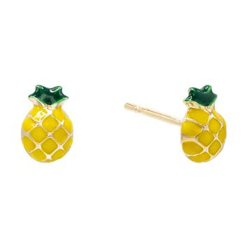 Pineapple Stud Earring 14K
