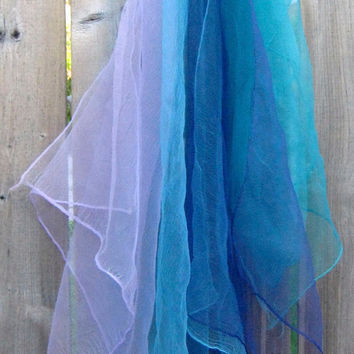 Vintage Chiffon Scarf Lot, Group of Four Scarves in Solid Colors of Blue, Turquoise, Teal, Lilac, Accessories Woman