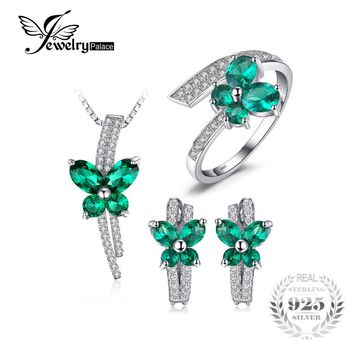 Jewepalace Butterfly Created Emerald Jewelry Set 925 Sterling Silver Ring Necklace Pendant Earring Clip Women Bridal Jewelry Set