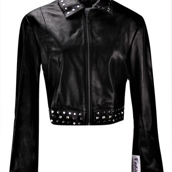 Ladies Sexy Bolero Leather Jacket with Rivets - Super Sale