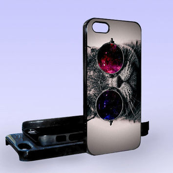 Steampunk Cat Galaxy Nebula - Print on Hard Cover - iPhone 5 Case - iPhone 4/4s Case - Samsung Galaxy S3 case - Samsung Galaxy S4 case