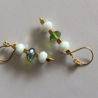 Green and White Crystal Earrings