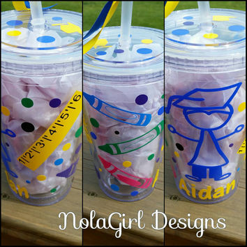 Kindergarten graduation tumbler, pre-K gift, Kindergarten gift, Children, First day of school, crayons, rulers, apple, custom designed