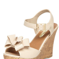 Nude Bow Wedges
