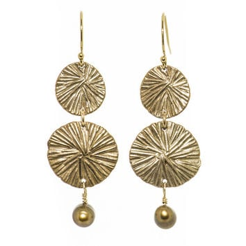 Miravos Jewelry - Double Medallion Earrings with Pearl
