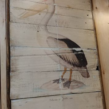 Pelican vintage Reclaimed wood wall art