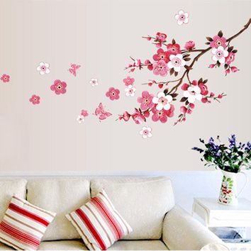Waterproof Cherry Blossom Flower bedroom Wall Stickers