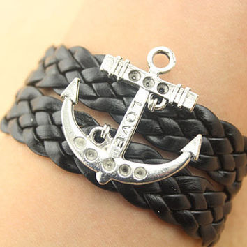 anchor bracelet--love bracelet,antique silver charm bracelet,black braid leather bracelet,friendship gift