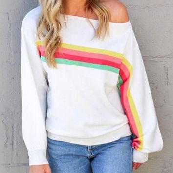 New White Rainbow Striped One Off Shoulder Long Sleeve Casual T-Shirt